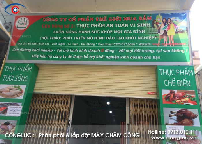 Lắp máy chấm công cửa hàng thực phẩn an toàn vi sinh 388 Thiên Lôi Hải Phòng