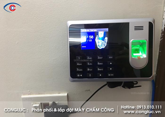 Lắp máy chấm công vân tay cửa hàng thực phẩm an toàn vi sinh 388 Thiên Lôi Vĩnh Niệm