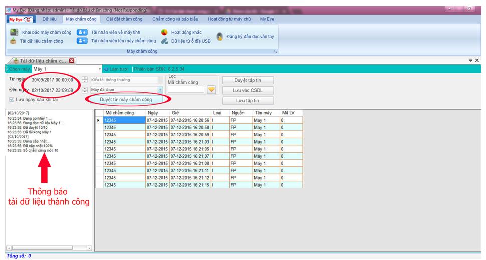 phần mềm chấm công my eye pro tải dữ liệu chấm công