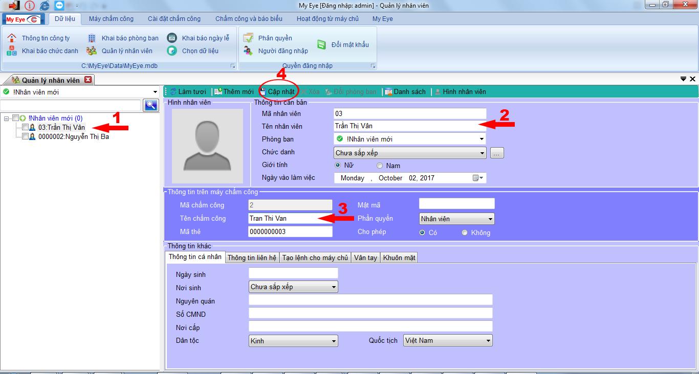 phần mềm my eye pro cập nhập tên nhân viên