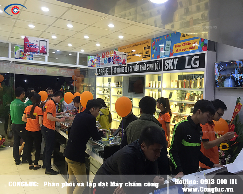 Lắp máy chấm công cho cửa hàng Minh Hoàng Mobile Hải Phòng
