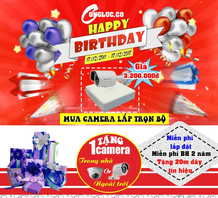 Mua camera lắp trọn bộ tặng 1 camera quan sát mừng sinh nhật Cộng Lực 6 tuổi
